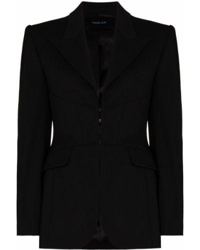 Шерстяной приталенный черный пиджак Mugler
