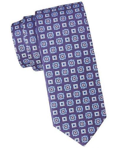 Шелковый синий медальон с вышивкой Eton