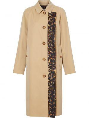 Бежевое кожаное пальто с воротником на пуговицах с карманами Burberry