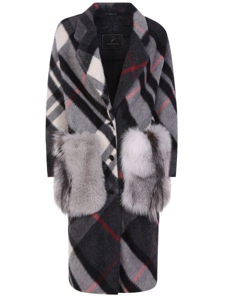 Серое пальто с воротником из альпаки с мехом Montecore