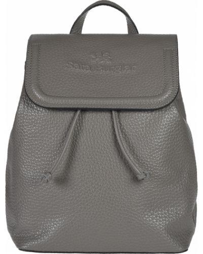 Кожаный рюкзак - серый Sara Burglar