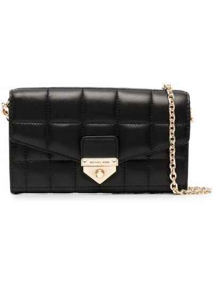Кожаная стеганая черная сумка на цепочке Michael Michael Kors