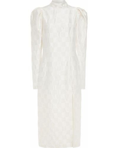 Satynowa biała sukienka midi Rotate Birger Christensen
