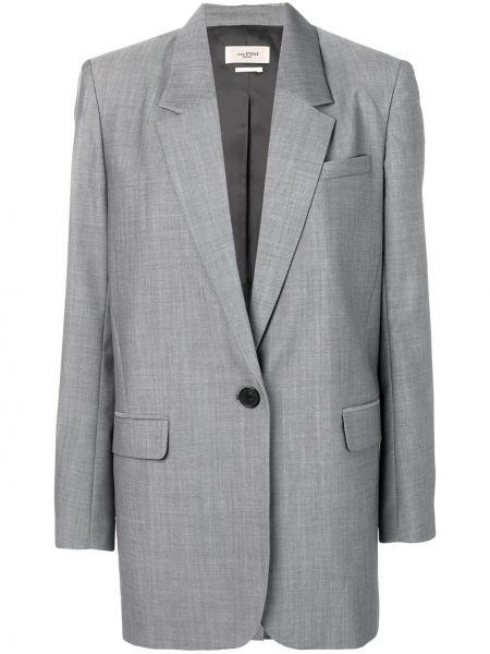 Шерстяной серый удлиненный пиджак с карманами Isabel Marant étoile