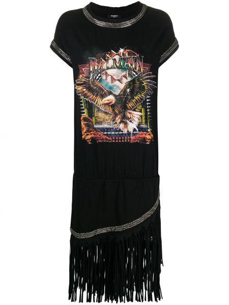 Платье мини миди с бахромой Balmain