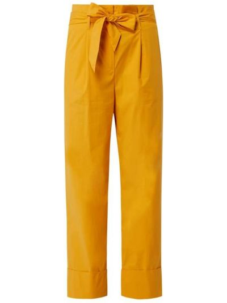 Żółte spodnie bawełniane z paskiem Marc Cain