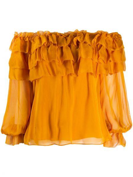 Желтая прямая блузка с открытыми плечами с оборками прозрачная Alice+olivia