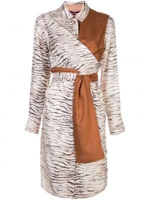 Асимметричное шелковое платье на пуговицах с воротником Sies Marjan