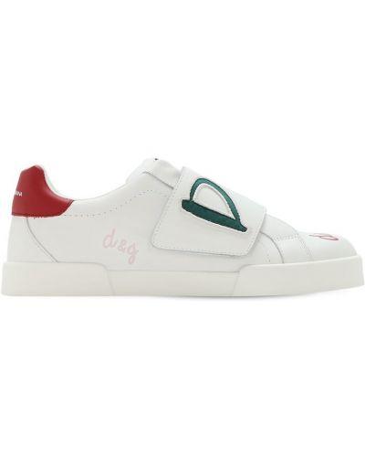 Z paskiem biały sneakersy z prawdziwej skóry na hakach Dolce And Gabbana