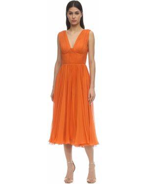 Платье миди шифоновое шелковое Maria Lucia Hohan