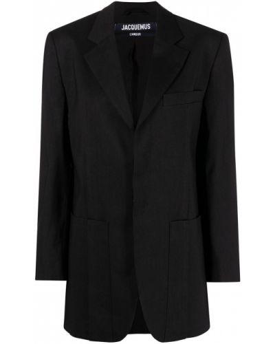 Однобортный черный удлиненный пиджак с карманами Jacquemus