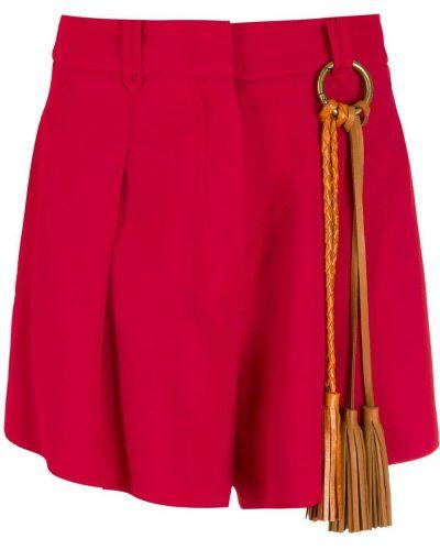 Красные шорты из вискозы с декоративной отделкой НК