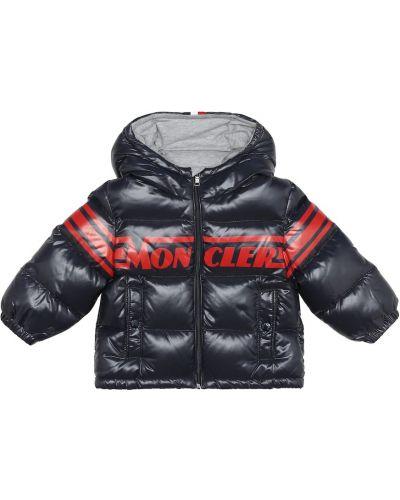 Синее пуховое пальто Moncler Enfant