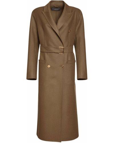 Зеленое шерстяное длинное пальто двубортное Versace
