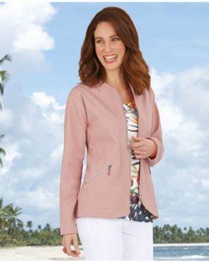 Джинсовая куртка розовая на молнии Atlas For Men