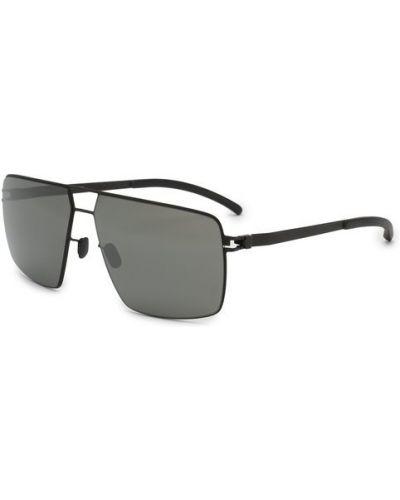 Солнцезащитные очки черные металлические Mykita