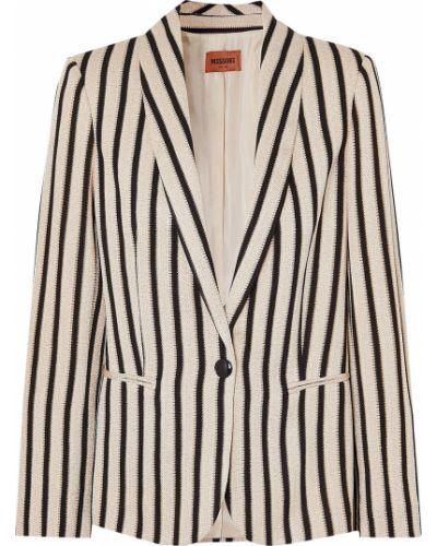 Бежевый пиджак в полоску с карманами Missoni