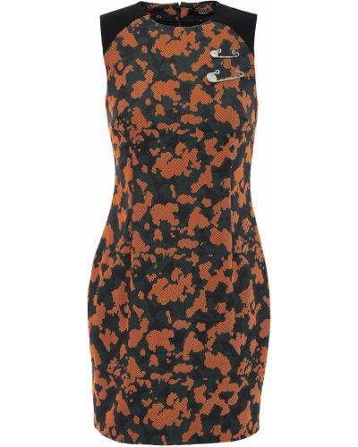 Хлопковое оранжевое платье мини на крючках Versus Versace