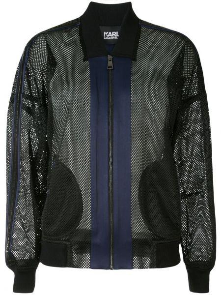 Długa kurtka z kieszeniami czarna Karl Lagerfeld