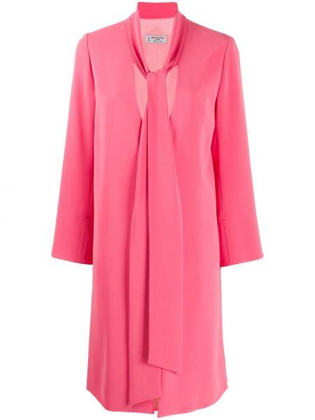 Розовое длинное пальто с капюшоном с V-образным вырезом Alberto Biani