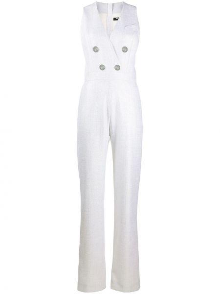 Белый комбинезон с карманами с люрексом Balmain