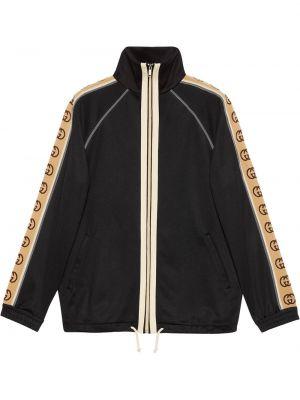 Черная куртка на молнии с манжетами с карманами Gucci