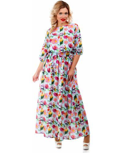 Платье макси с цветочным принтом с поясом Liza Fashion