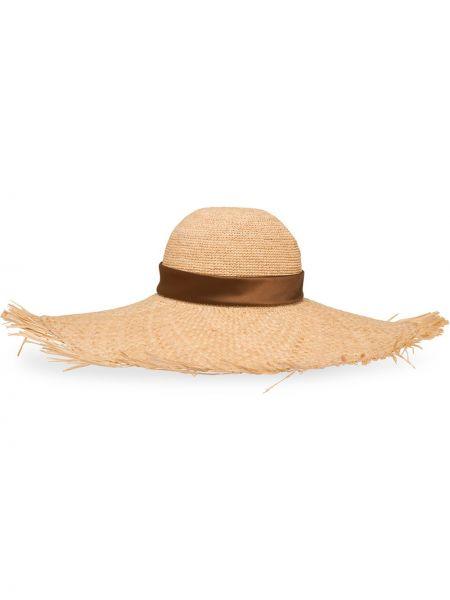 Beżowy kapelusz z jedwabiu Prada