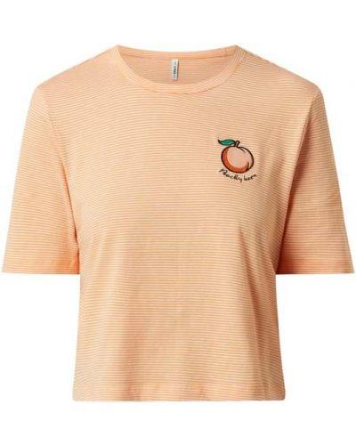 Pomarańczowy t-shirt bawełniany w paski Only