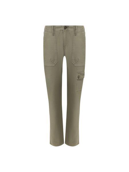 Хлопковые брюки хаки Frame Denim