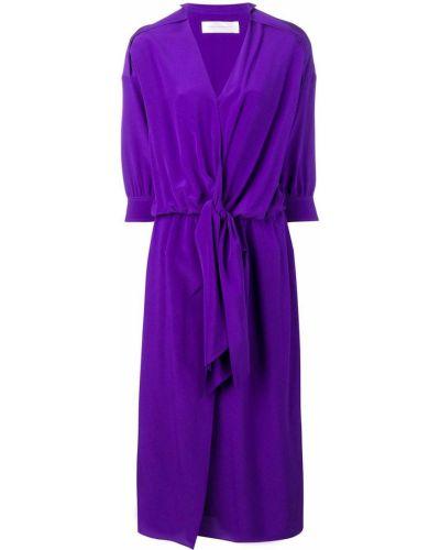 Платье с поясом с V-образным вырезом шелковое Victoria, Victoria Beckham