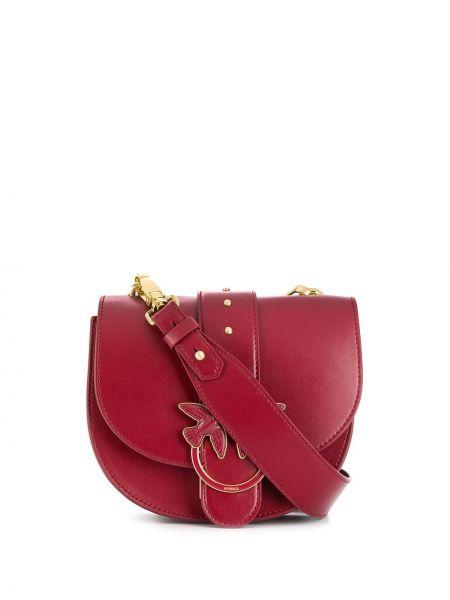 Сумка на плечо с пряжкой красная Pinko