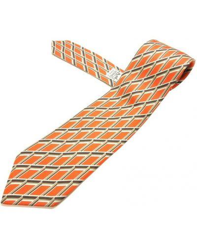 Krawat z jedwabiu - pomarańczowy Hermès Vintage