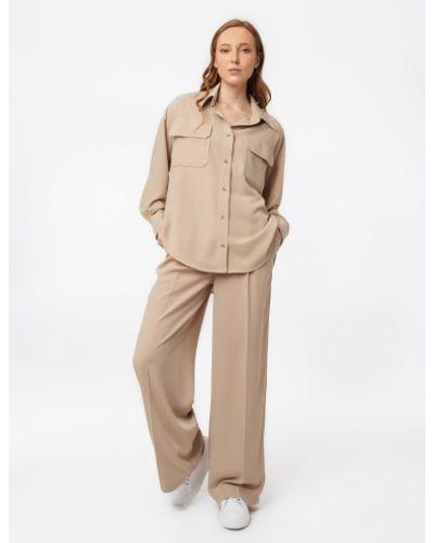 Бежевые брюки с защипами свободного кроя Magnetic