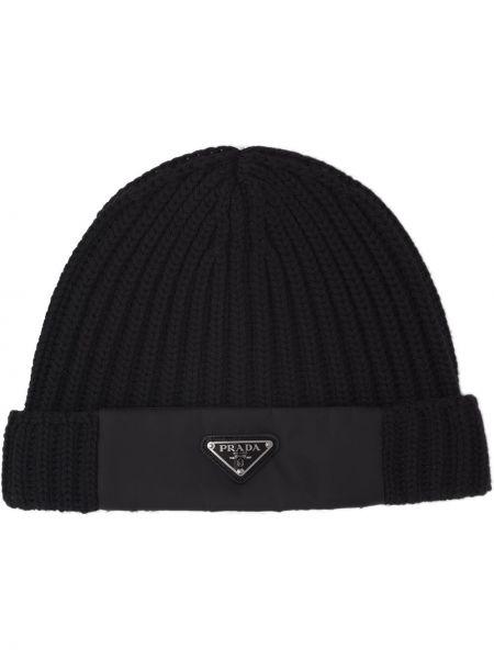Prążkowany czarny czapka beanie wełniany Prada