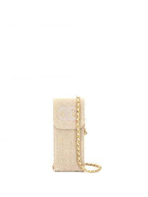Золотистый кожаный клатч на цепочке с подкладкой с заплатками Chanel Pre-owned