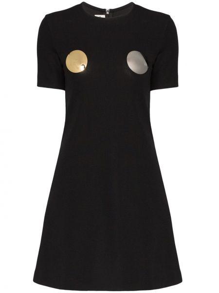 Черное футбольное платье мини с вырезом с карманами Rudi Gernreich