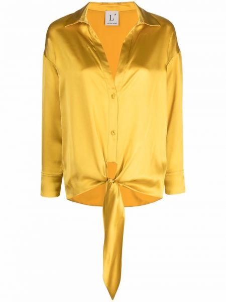 Желтая шелковая рубашка с воротником Lautre Chose