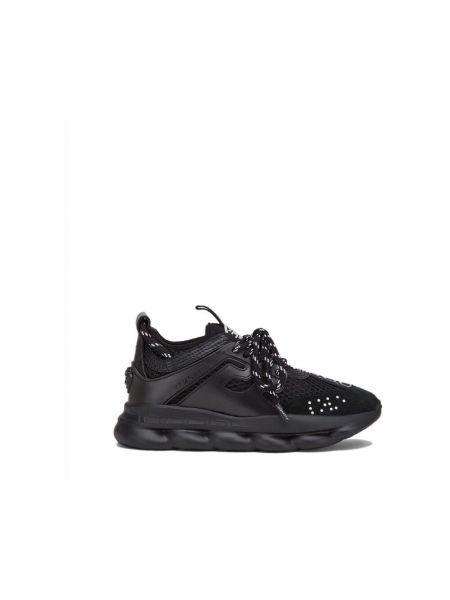 Czarne sneakersy skorzane Versace