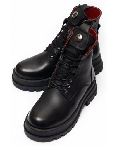 Ботинки с натуральным мехом - черные Estomod