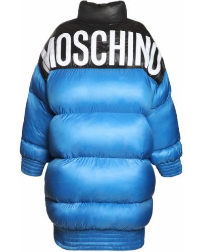 Синее пальто с вышивкой с карманами Moschino