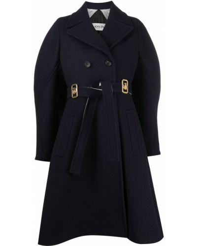 Синее кожаное длинное пальто двубортное Lanvin