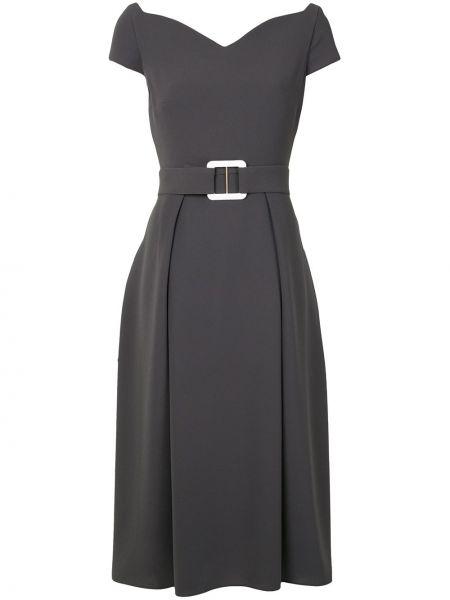 Серое платье миди с вырезом на молнии с короткими рукавами Edeline Lee