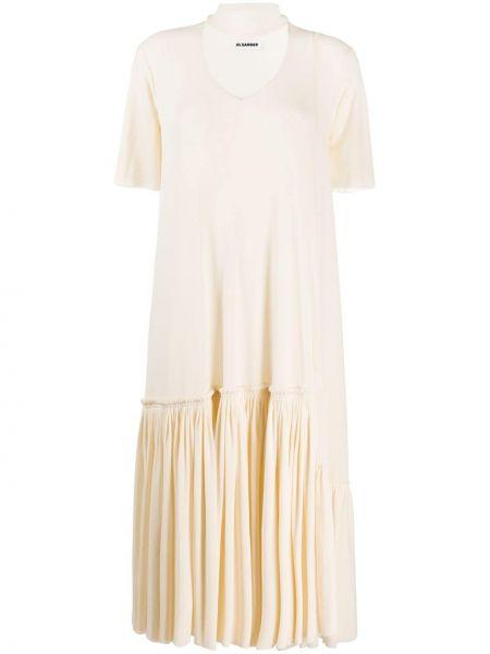 Платье мини миди с V-образным вырезом Jil Sander