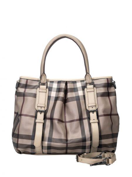 Серая сумка-тоут металлическая на молнии с карманами Burberry Pre-owned