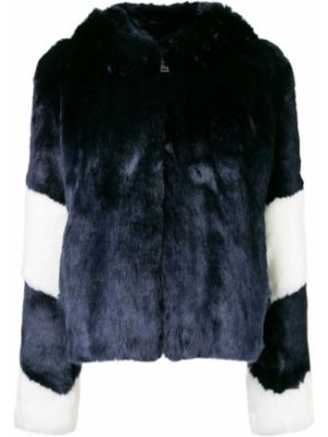 С рукавами синяя куртка с капюшоном из искусственного меха La Seine & Moi