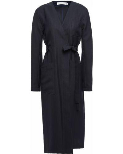 Шерстяное пальто с карманами с заплатками Victoria Beckham