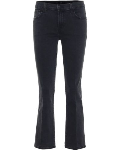Ватные хлопковые черные укороченные джинсы винтажные J Brand