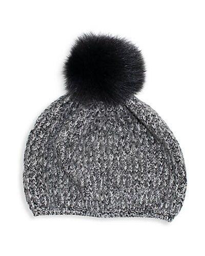 Серебряная шапка бини из чернобурки Portolano