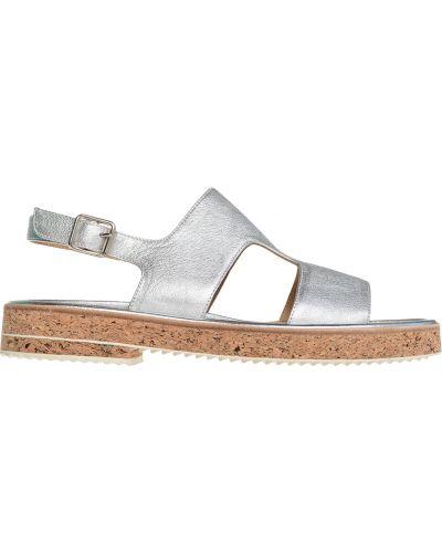 Серебряные сандалии на каблуке Camerlengo